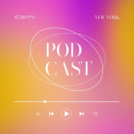 Plantilla de diseño de Podcast Topic Announcement with Colorful Gradient Podcast Cover