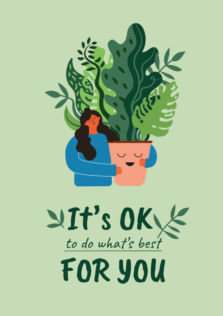 Plantilla de diseño de Mental Health Inspiration with Woman holding Plant Poster