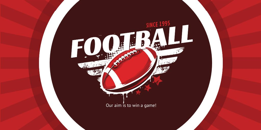 Football Event Announcement with Ball in Red Twitter – шаблон для дизайна