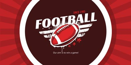 Football Event Announcement with Ball in Red Twitter Modelo de Design