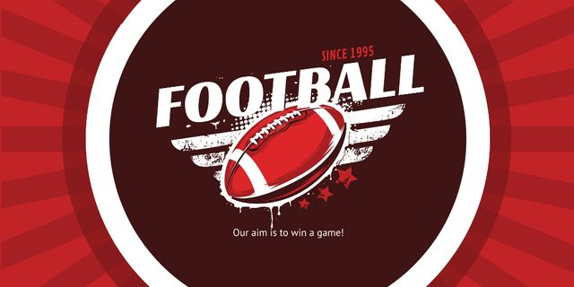 Football Event Announcement with Ball in Red Twitterデザインテンプレート