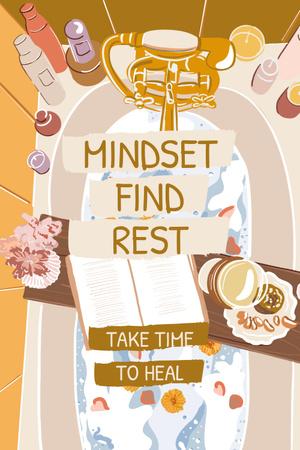 Mental Health Inspiration with Cozy Bath Pinterest Design Template