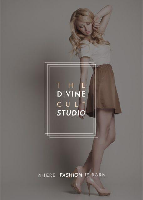 Szablon projektu Fashion Studio Ad Blonde Woman in Casual Clothes Flayer