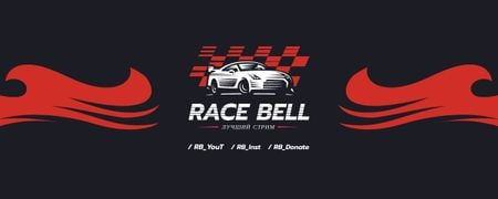 Race Stream Ad with Racing Car illustration Twitch Profile Banner – шаблон для дизайна