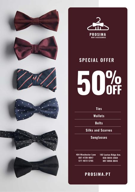 Men's Accessories Sale with Bow-Ties in Row Poster Design Template