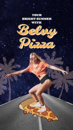 Funny Illustration of Woman on Pizza-Skateboard Instagram Story Tasarım Şablonu