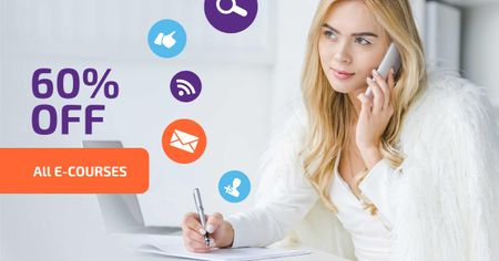 Online Courses Offer with Network Icons Facebook AD Modelo de Design