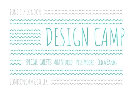 Design camp announcement on Blue waves Postcard – шаблон для дизайну