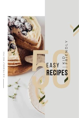 Recipes Guide Sweet Cake with Berries Tumblr Design Template