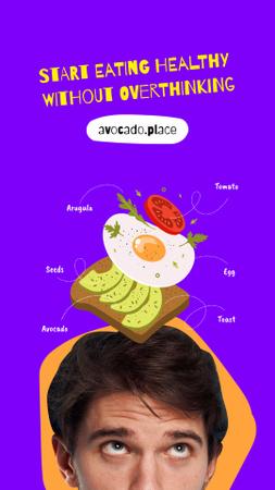 Modèle de visuel Healthy Food Offer with Avocado Sandwich - Instagram Story
