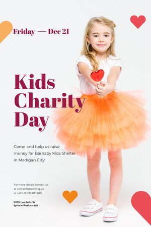 Kids Charity Day with Girl holding Heart Candy Tumblr Modelo de Design