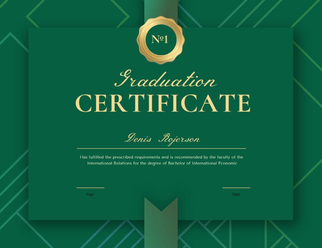 Graduation Diploma with Green Ribbon Certificateデザインテンプレート