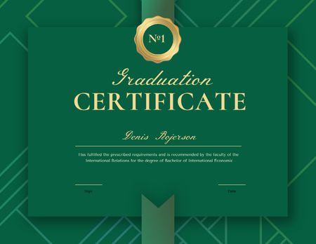 Modèle de visuel Graduation Diploma with Green Ribbon - Certificate
