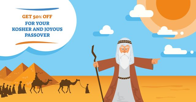 Modèle de visuel Passover Offer with Religious illustration - Facebook AD