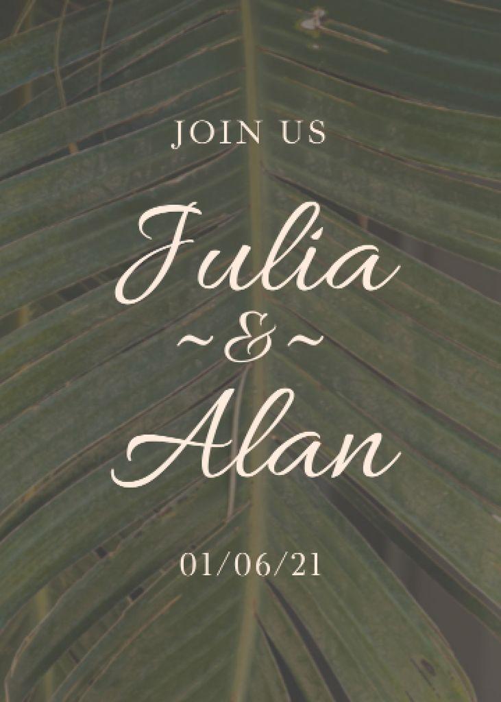 Designvorlage Wedding Day Announcement with Tropical Plant Leaf für Invitation