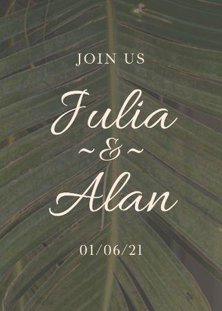 Wedding Day Announcement with Tropical Plant Leaf Invitation – шаблон для дизайну