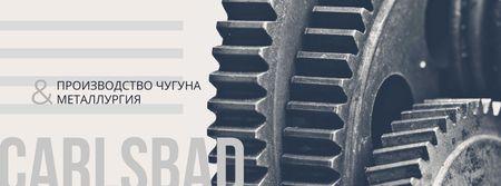 Moving metal cogwheels Facebook cover – шаблон для дизайна