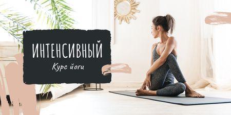Woman practicing Yoga at home Twitter – шаблон для дизайна
