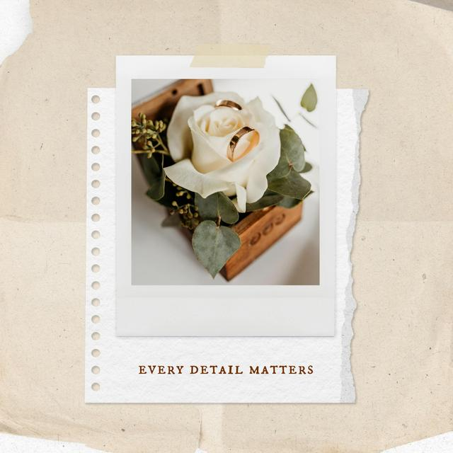 Wedding Celebration with Cute Wooden Box with Flower Instagram Design Template
