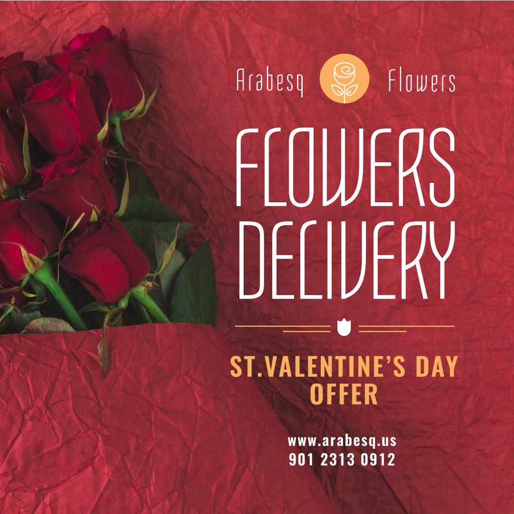 Modèle de visuel Valentine's Day Flowers Delivery in Red - Instagram