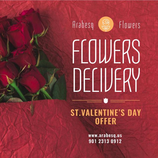 Valentine's Day Flowers Delivery in Red Instagram Modelo de Design