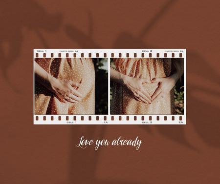 Pregnant Woman showing Heart on Belly Facebook Modelo de Design