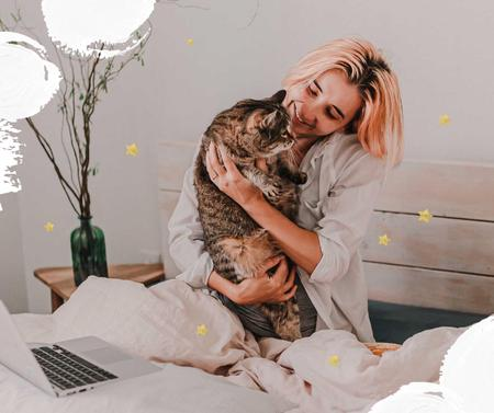 Template di design Girl hugging Cat at home Facebook