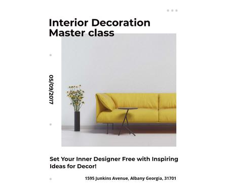 Template di design Interior decoration masterclass with Sofa in yellow Facebook