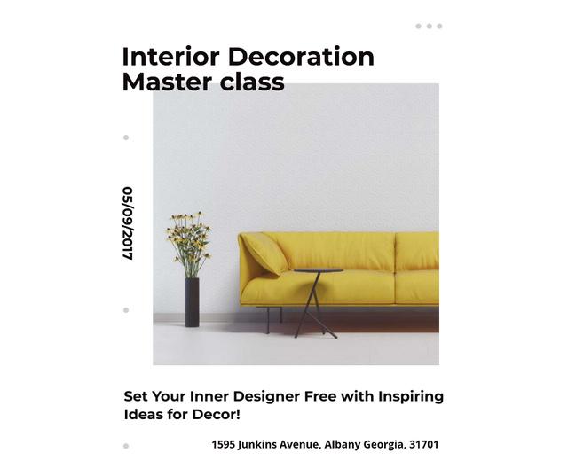 Plantilla de diseño de Interior decoration masterclass with Sofa in yellow Facebook