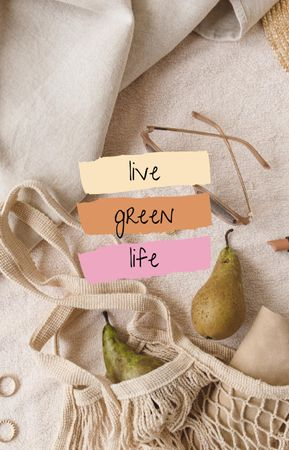 Plantilla de diseño de Eco Concept with Pears in Bag IGTV Cover