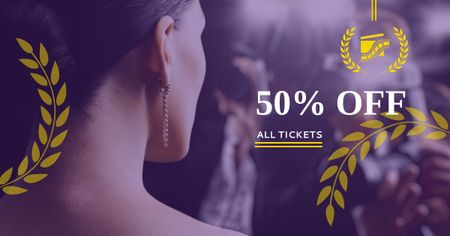 Plantilla de diseño de Festival Tickets sale with actress Facebook AD