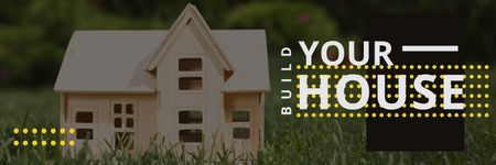 Build your house poster with small wooden house model Twitter Tasarım Şablonu