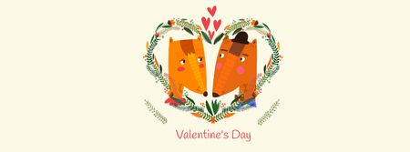 Ontwerpsjabloon van Facebook cover van Valentine's Day Announcement with Cute Foxes