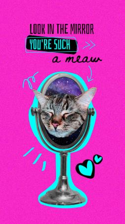Cute Cat Face in Mirror Instagram Story – шаблон для дизайну