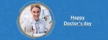 Ontwerpsjabloon van Facebook cover van Doctor's day Announcement with Female Doctor