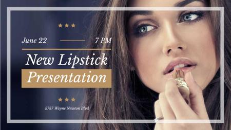 Lipstick Presentation with Woman painting lips FB event coverデザインテンプレート