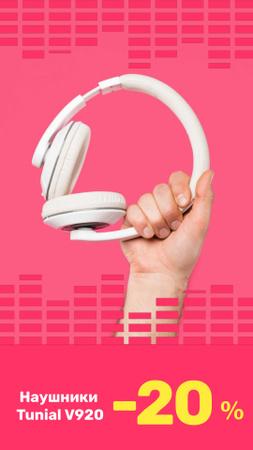 Special Sale with Man holding Headphones Instagram Video Story – шаблон для дизайна