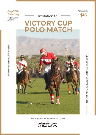 Template di design Polo match invitation with Players on Horses Flayer