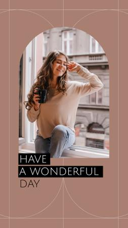 Happy Woman sitting on windowsill Instagram Story Design Template