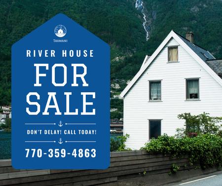Plantilla de diseño de Real Estate Ad House on River Bank Facebook
