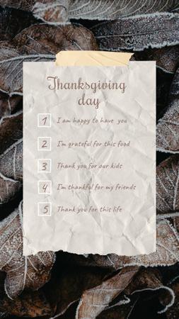 Ontwerpsjabloon van Instagram Story van Thanksgiving Day Greeting with Autumn Foliage