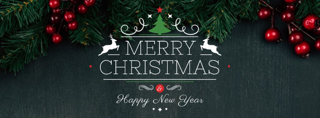 Christmas Greeting with Fir Tree Branches — Modelo de projeto