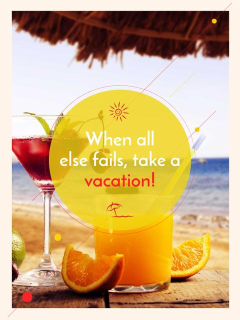 Ontwerpsjabloon van Poster US van Vacation Offer Cocktail at the Beach