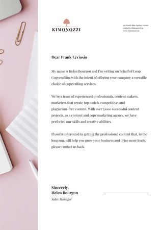 Copywriters agency official offer Letterheadデザインテンプレート