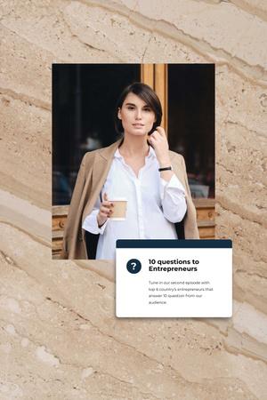 Designvorlage Woman Entrepreneur with coffee für Pinterest