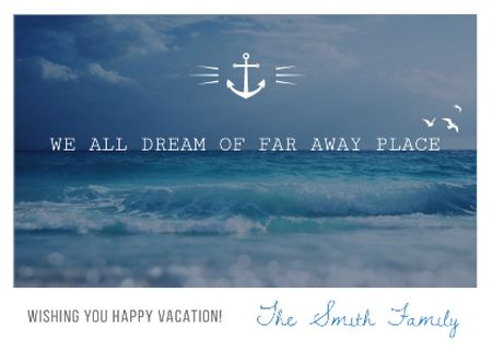 Modèle de visuel Motivational travel quote with ocean waves - Card