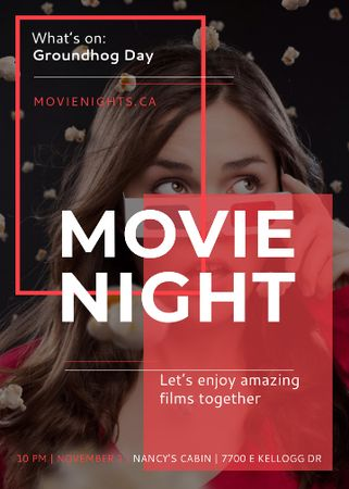 Plantilla de diseño de Movie Night Event Woman in 3d Glasses Invitation