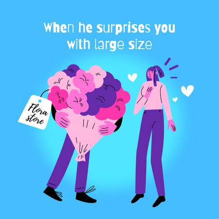 Plantilla de diseño de Man giving Huge Bouquet to Girlfriend Instagram