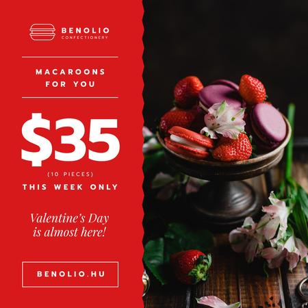 Plantilla de diseño de Valentine's Day Offer Macarons with Berries Instagram