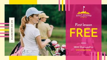 Golf Club Ad Woman Player on Field